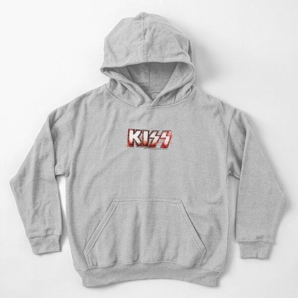 KISS rock music band -  Red Lightning Logo Kids Pullover Hoodie