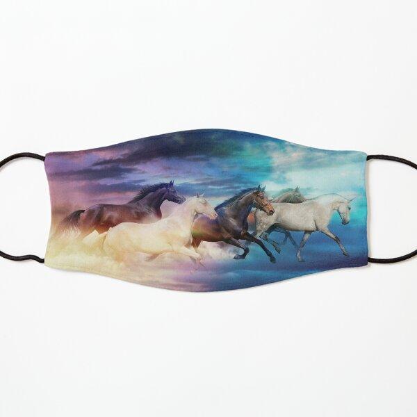 herd of horses in pastel Kids Mask