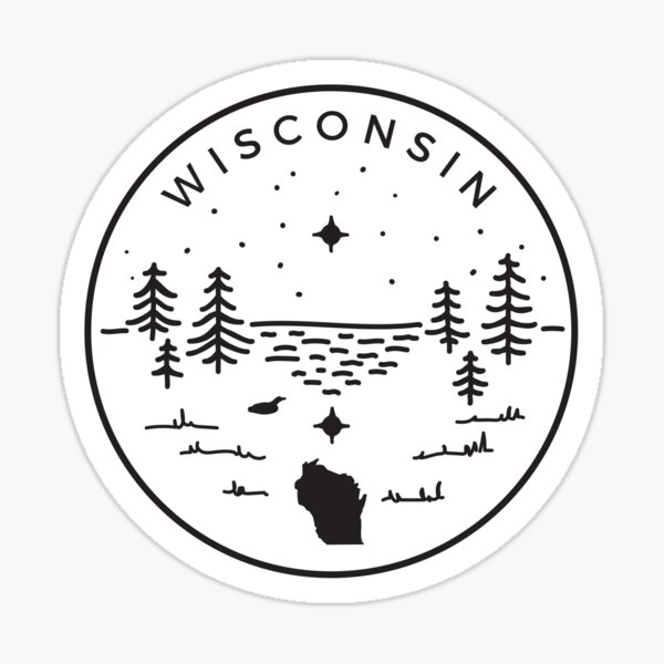 Wisconsin Badge — Up North (Black) Sticker
