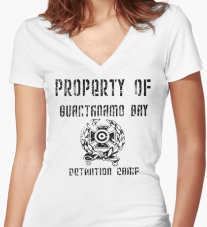 Guantanamo Bay Detention Camp Women's Fitted V-Neck T-Shirt