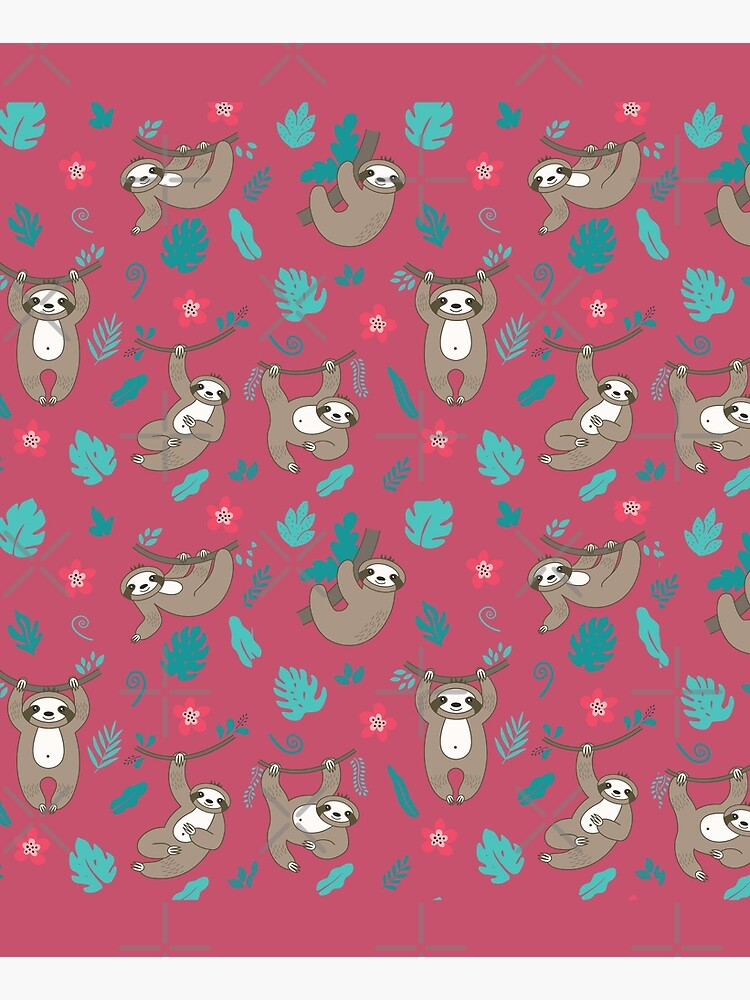 Cute Sloth Pattern - Red by happyhourvibe