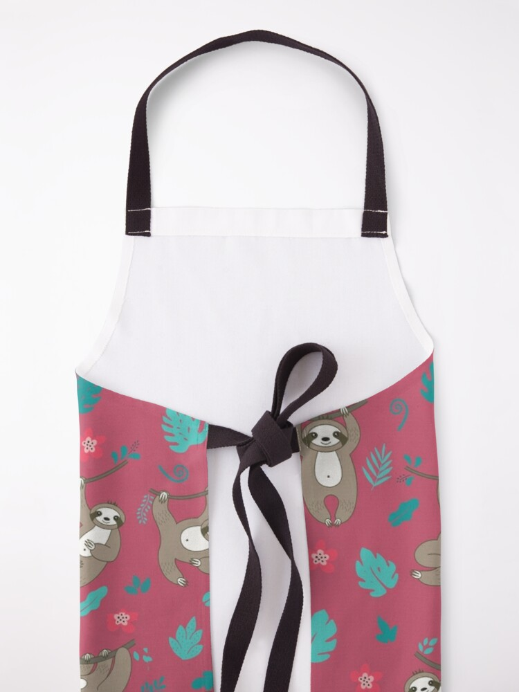 Alternate view of Cute Sloth Pattern - Red Apron