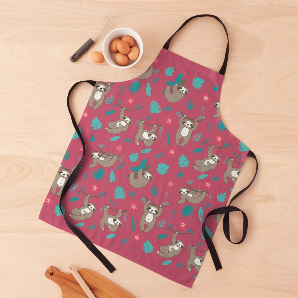 Cute Sloth Pattern - Red Apron
