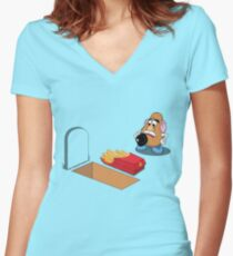 Toy Story Mr Potato Head Burying his dead Women's Fitted V-Neck T-Shirt