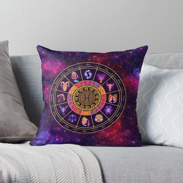 Pisces Zodiac Lightburst - Circle Throw Pillow