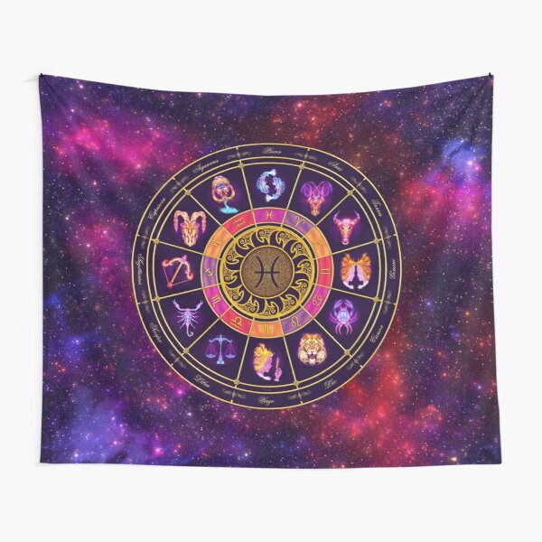 Pisces Zodiac Lightburst - Circle Tapestry