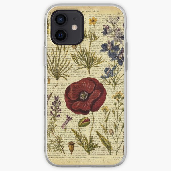 Botanical print, on old book page - flowers iPhone Soft Case
