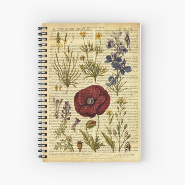Botanical print, on old book page - flowers Spiral Notebook