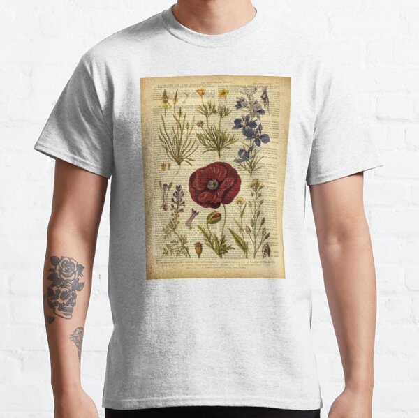 Botanical print, on old book page - flowers Classic T-Shirt
