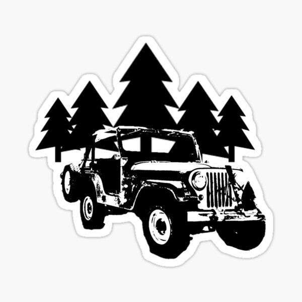 Jeep and Trees Sticker