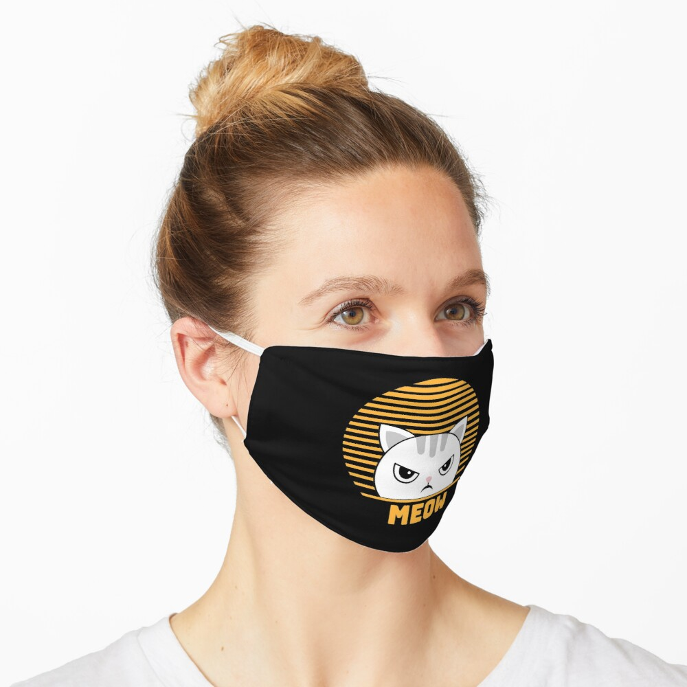 Cute Funny Vintage Retro Style Kawaii Cat Lover  Mask