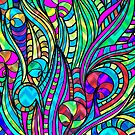 Colorful Vintage Abstract Floral Swirls Collage 3 by artonwear