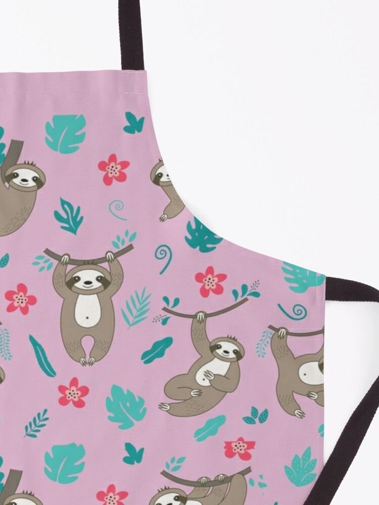 Alternate view of Cute Sloth Pattern -Pink Apron