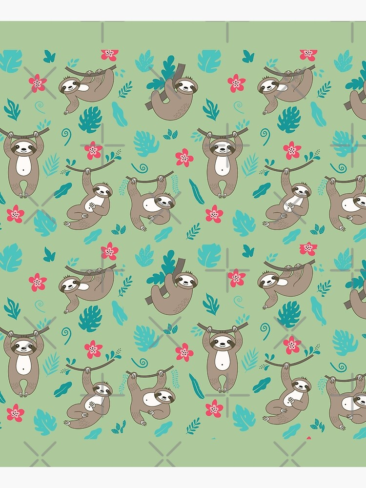 Cute Sloth Pattern - Green by happyhourvibe