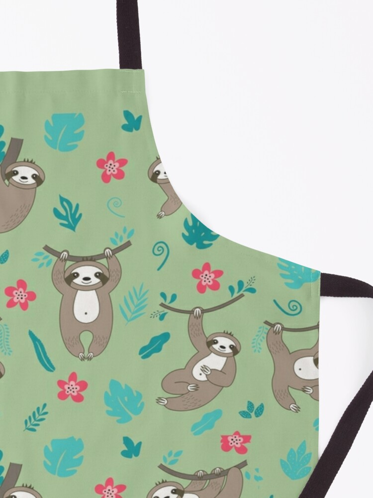 Alternate view of Cute Sloth Pattern - Green Apron