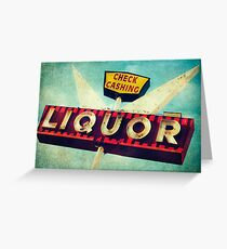 Check Cashing And Liquor Retro Sign Greeting Card