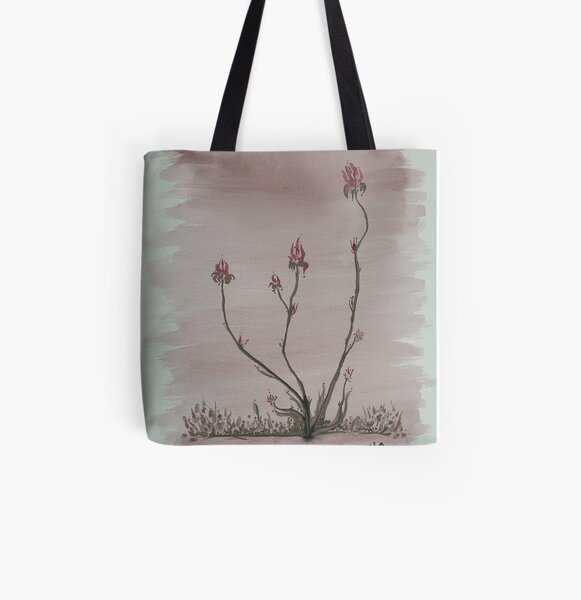 Pink Flowers Life Water Colour Painting All Over Print Tote Bag