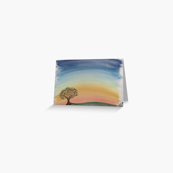Sunset Tree Water Colour Painting Greeting Card