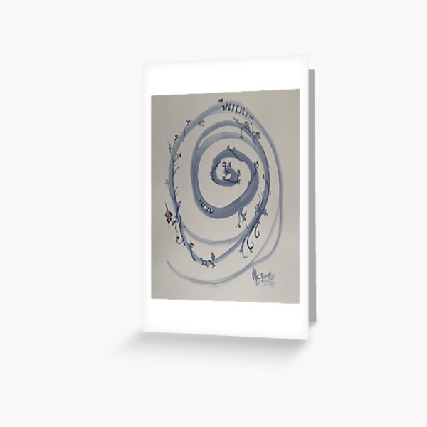 Blue Spirit Flower Water Colour Painting Greeting Card