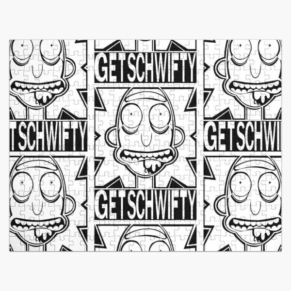 Get Schwifty  Bold Black and White  Jigsaw Puzzle