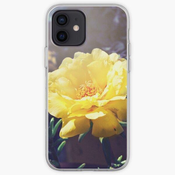 Summer Garden, yellow portulaca flower, flowering succulent iPhone Soft Case