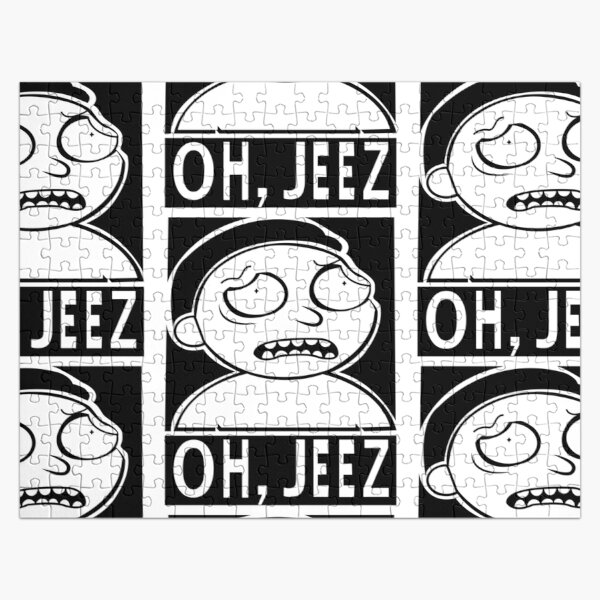 Bold Black and White, Oh, Jeez Morty Sticker Jigsaw Puzzle
