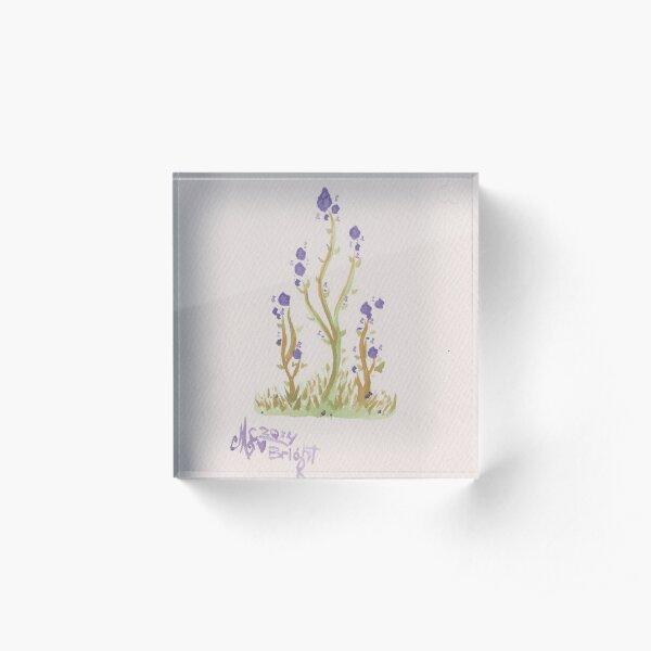 Bright Purple Spirit Flowers Water Colour Painting Acrylic Block