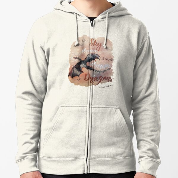 If the sky could dream, it would dream of dragons. by Ilona Andrews Zipped Hoodie