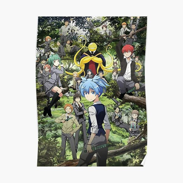 Assassination classroom Koro Sensei and Itona outdoor in the trees Poster