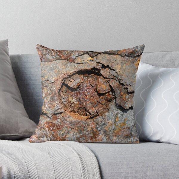 Rust-eaten metal panel Throw Pillow
