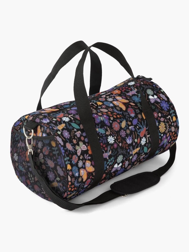 Alternate view of Butterflies, beetles and blooms - black - pretty floral pattern by Cecca Designs Duffle Bag