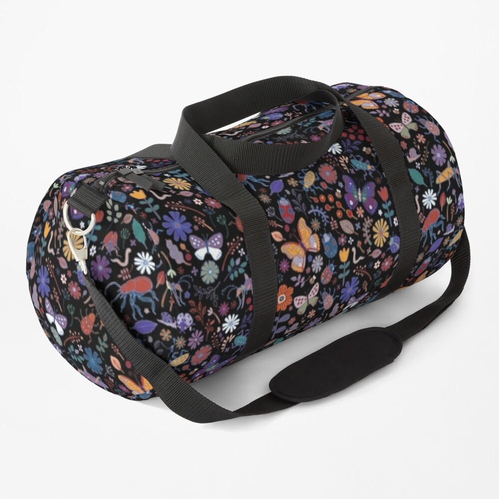 Butterflies, beetles and blooms - black - pretty floral pattern by Cecca Designs Duffle Bag