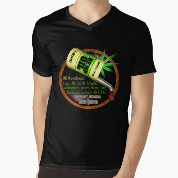 Hemp Oil cures by valxart  learn truth about use of hemp oil to cure illness and pains. V-Neck T-Shirt