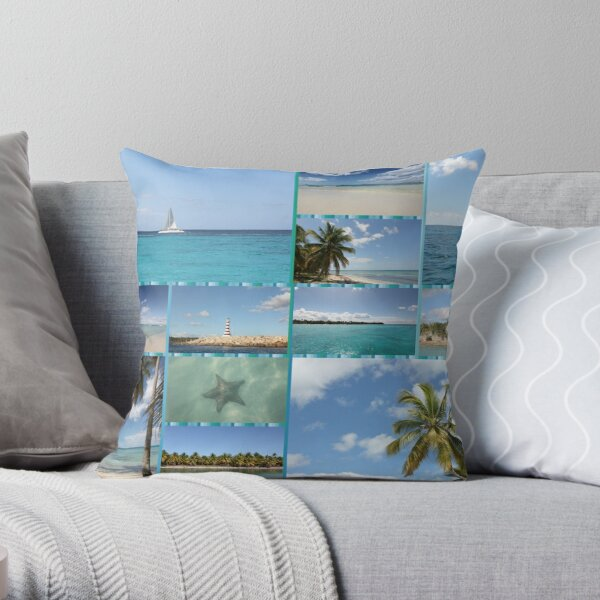 Great Tropical Paradise Caribbean Photo Collage Throw Pillow
