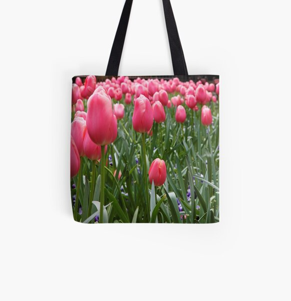 Blooming Pink Tulips All Over Print Tote Bag