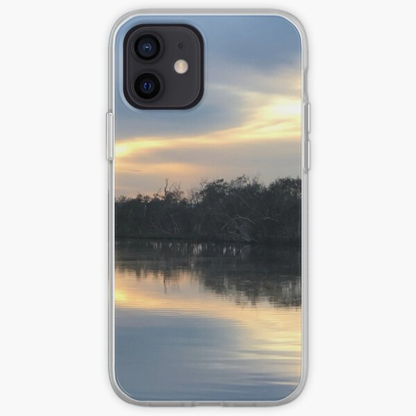 Playful Sky early morning at the river iPhone Soft Case