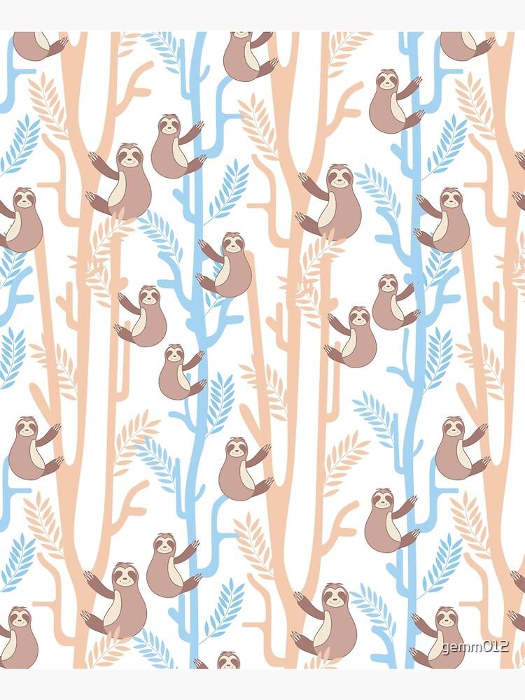 Happy Boho Sloth Floral,Funny Boho Sloth Pattern by gemm012