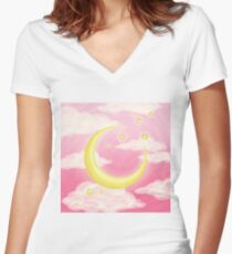 Moon Pink Women's Fitted V-Neck T-Shirt