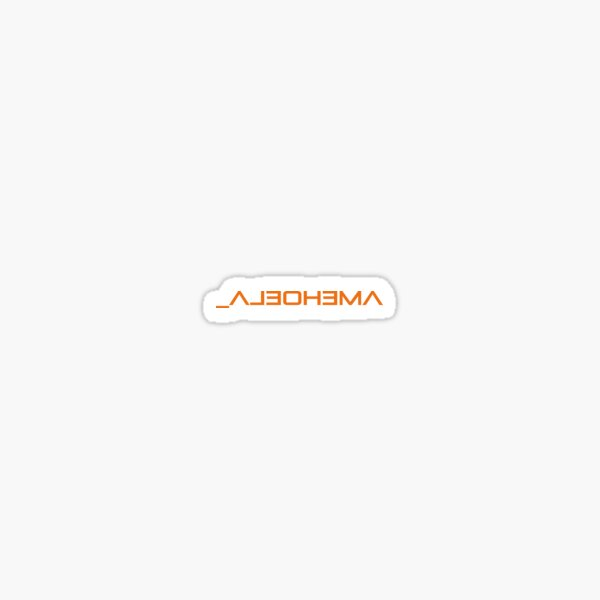Mirrored Text, Amehoela. Sticker