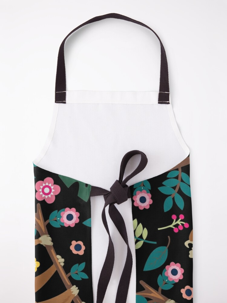Alternate view of I Love Sloth Floral, Funny Boho Sloth Floral Apron