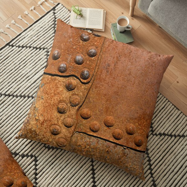 Rusty metal surface with riveted joints Floor Pillow