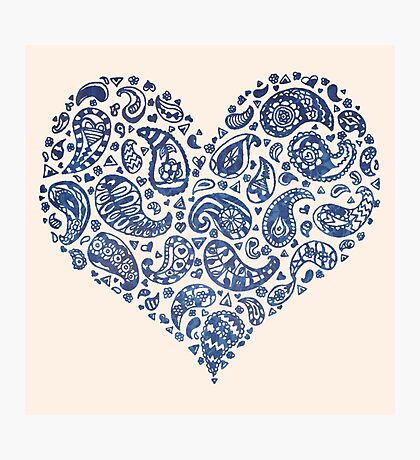 Blue Brocade Paisley Heart Photographic Print