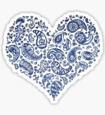 Blue Brocade Paisley Heart Sticker