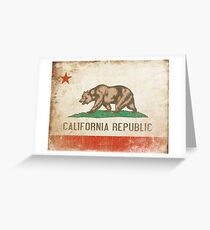 Poster With Distressed California Flag Greeting Card