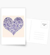 Purple Brocade Paisley Heart Postcards