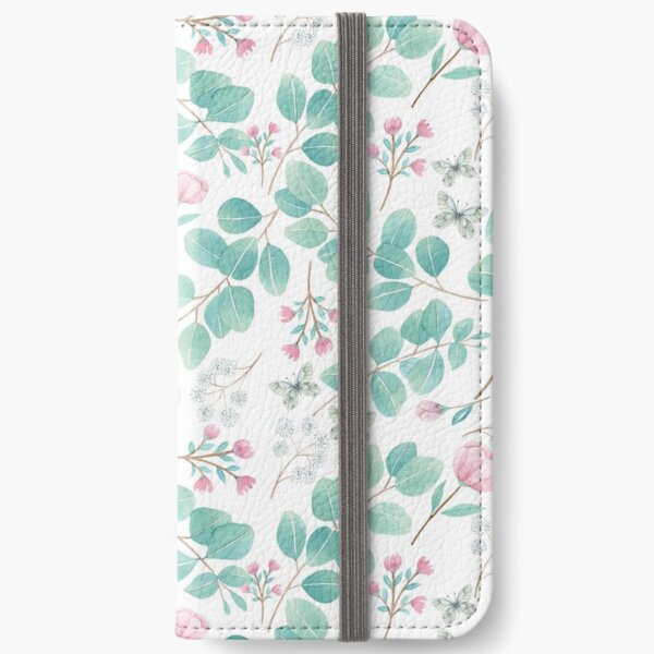eucalypto and pink flower iPhone Wallet