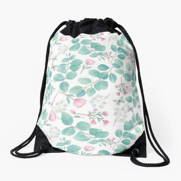 eucalypto and pink flower Drawstring Bag