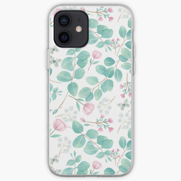 eucalypto and pink flower iPhone Soft Case