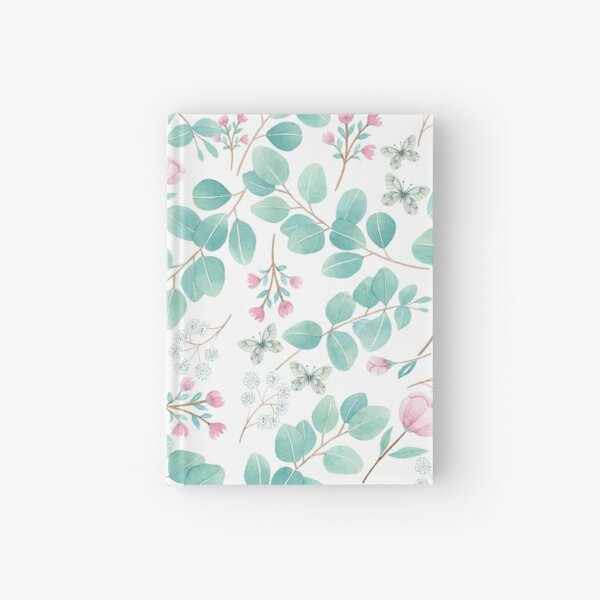 eucalypto and pink flower Hardcover Journal