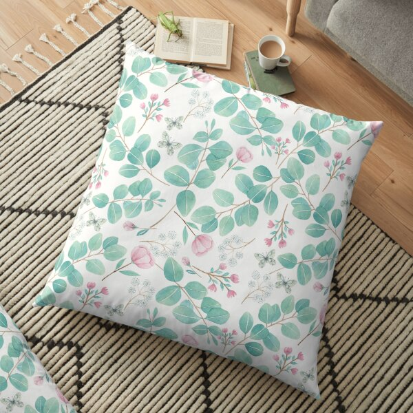 eucalypto and pink flower Floor Pillow